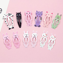 6PCS Lovely Children Animal Hair Clip Ornaments Bangs Rabbit Cat Dog Girls Jewelry Accessories Wholesale