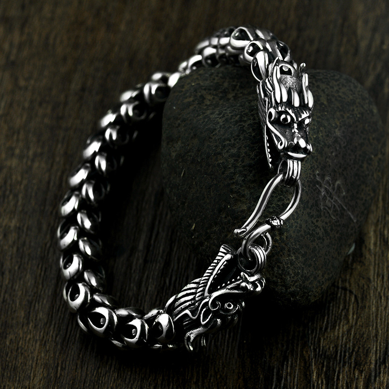 Heavy Thai Silver 925 Sterling Silver Dragon Scale Bracelet Men Domineering Vintage Punk Rock Antique Fashion