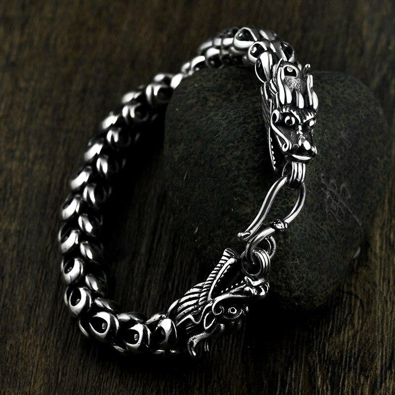 Bracelet en argent Sterling 925 en argent Sterling avec échelle de Dragon pour hommes