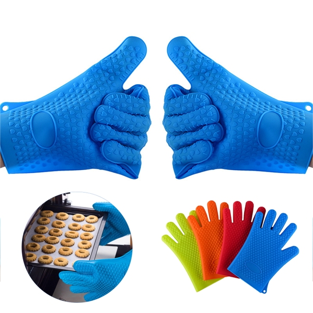 1 Pic Heat Resistant Kitchen Glove Silicone Barbecue Insulation Gloves Oven Mittens Cooking Bbq