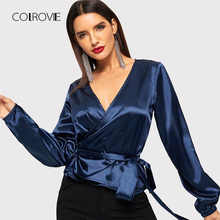 COLROVIE Blue V-Neck Belted Knot Satin Wrap Work Wear Blouse Shirt Women Clothes 2018 Winter Fashion Tops Office Ladies Blouses