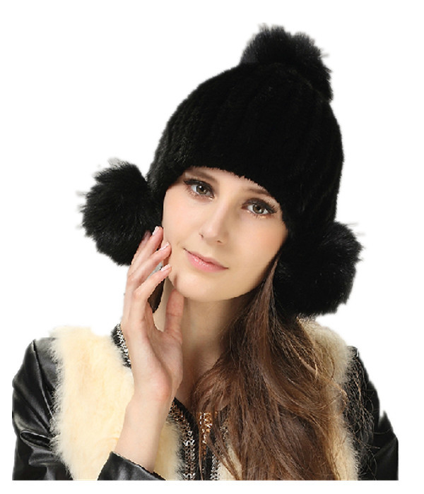 ФОТО H912- autumn and winter knitted mink hair cap  with fox fur ball  wholesale natural fur hats women