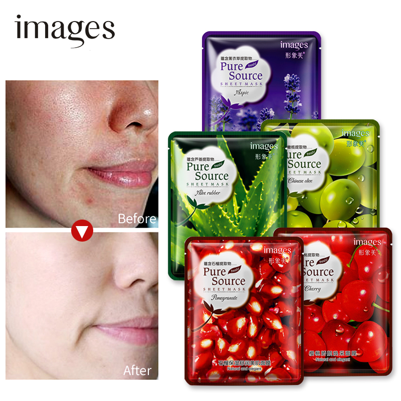 images pomegranate Aloe lavender cherry olive fruit Plant Serum Facial Mask Moisturizing Collagen Oil Control face mask skin 5pc in Treatments Masks from Beauty Health