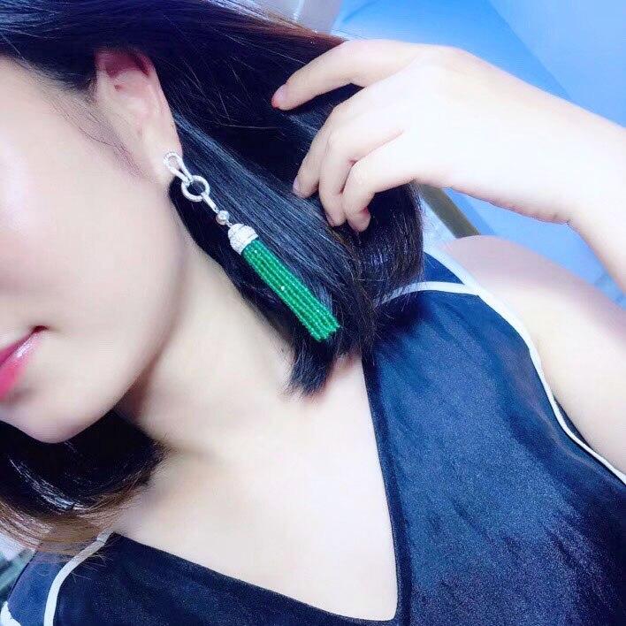 Qi Xuan_Green calcédoine gland boucles d'oreilles S925 argent plaqué or blanc incrusté à la main atmosphère exquise clous d'oreilles promotionnels