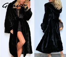 Genuo New Winter Fur Warm hooded Large size Medium length Solid color & Faux Women Casual Long sleeve coat