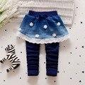 Fashion Autumn Baby Infants Girls Kids Children Denim Jeans Flower Lace Bow Skirt-pants Full Length Pants Trousers Legging S3627