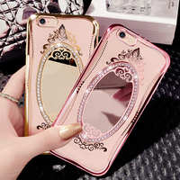 Rhinestone Case For IPhone 6 7 7 6 Plus Silicone Glitter Diamond Mirror Cover For IPhone