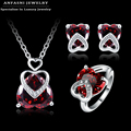 ANFASNI Red& Purple Gem Heart Shape Jewelry Sets Silver Color Micro Pave Inlay Zirconia Necklace/Earring/Ring Sets For Lovers