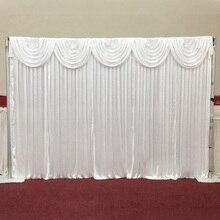 Высокое качество белый свадебный фон с Swag для свадебных мероприятий церемоний украшение для банкета и вечеринки Свадебные шторы