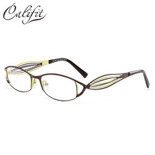 0577b2cff4 CALIFIT Hollow Stripe Metal Optical Glasses Women Fashion Prescription  Photochromic Lens Spectacles Myopia Graduated Glasses New