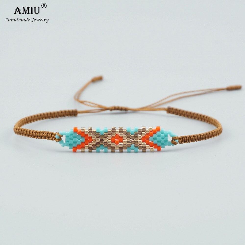 2019 AMIU Handmade MIYUKI Bead Bracelets Popular Geometric Boho Handmade Charm Delica Bead Bracelets & Bangles For Women Men Ювелирное изделие