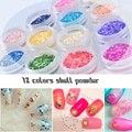 12 Цветов Щебень Shell Порошок 3D Nail Art Украшения Стразы Для Ногтей Гель Лак Для Ногтей Прелести Ногтей Блеск