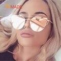 Aimade 2016 New Cat Eye Sunglasses Mulheres Marca Designer de Moda Twin-Vigas Subiu Espelho de Ouro Cateye Óculos de Sol Para feminino UV400