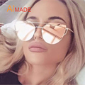 Aimade 2016 New Cat Eye Sunglasses Women Brand Designer Fashion Twin-Beams Rose Gold Mirror Cateye Sun Glasses For Female UV400