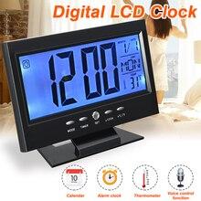 Черные ЖК-цифровые настольные часы с календарем, температурный Настольный дисплей, звуковой контроль, будильник