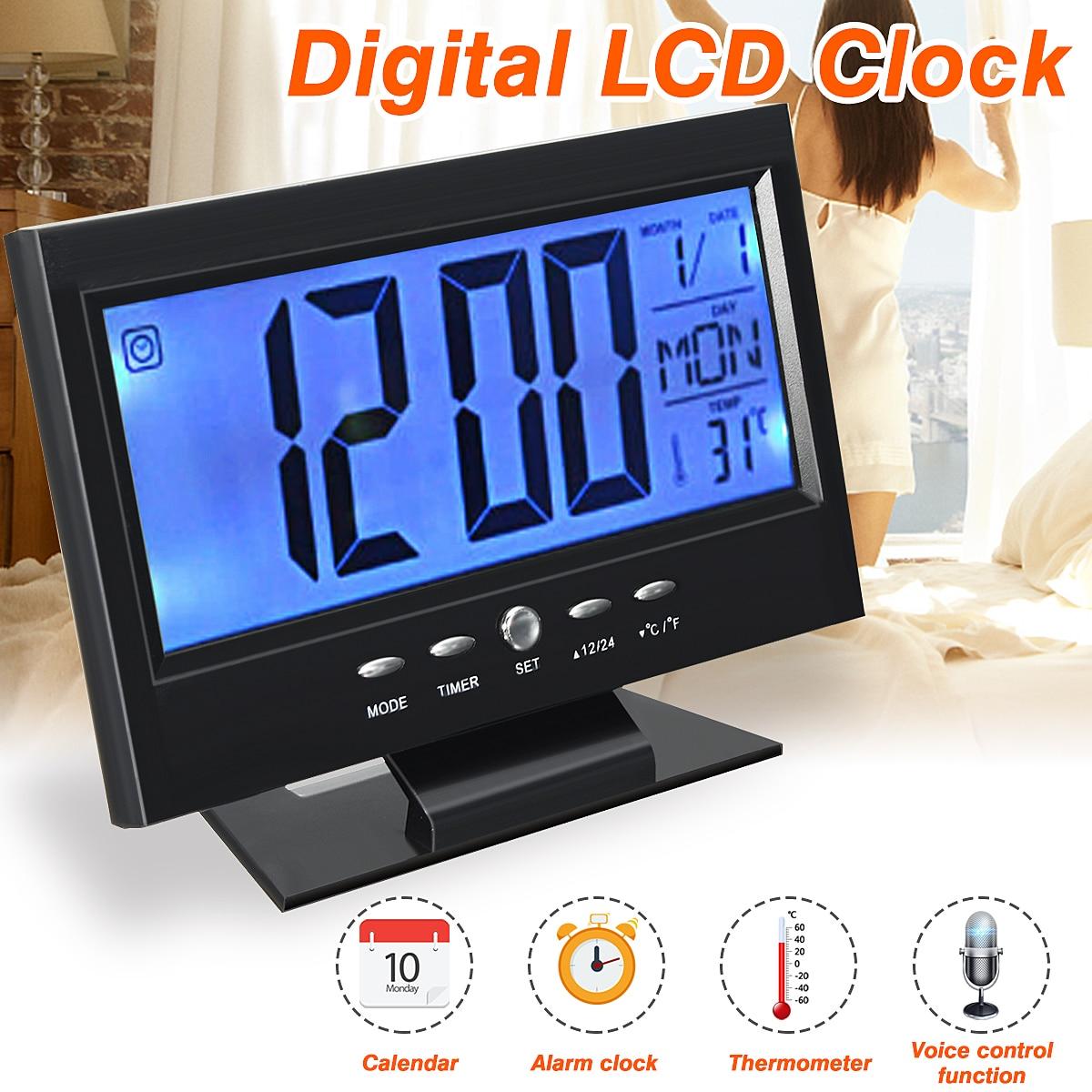 Schwarz LCD Digitale Tisch Uhr Kalender Temperatur Desktop Display Sound Control Alarm Uhr