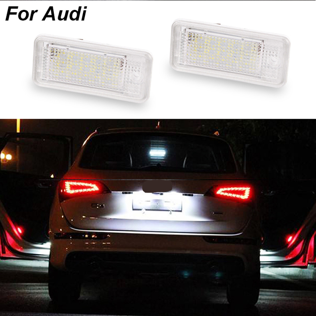2 Pcs Branco 3 W 18 SMD Número Led License Plate Luz Lâmpada Led Número Da Placa Para Audi A4 B6 B7 A6 C6 A3 S3 S4 S6 A8 S8 Rs4 Rs6 Q7