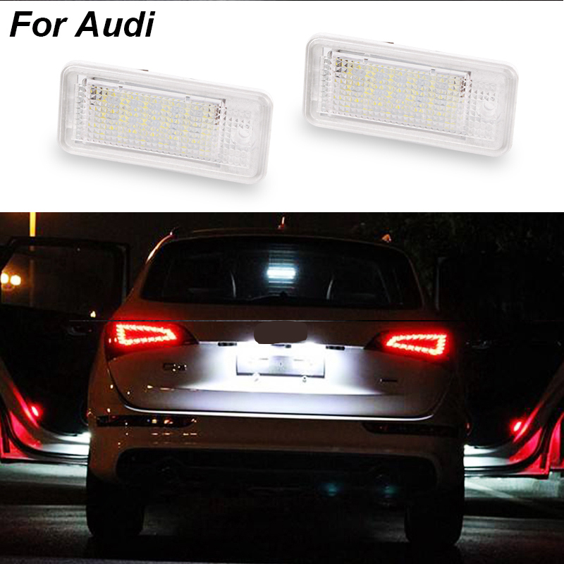 2Pcs White 3W 18 SMD Led Number License Plate Light Led Bulb Number Plate For Audi A4 A6 C6 A3 S3 S4 B6 B7 S6 A8 S8 Rs4 Rs6 Q7 2pcs car error free 18 led license number plate light white lamp for audi a3 s3 a4 s4 b6 b7 a6 s6 a8 q7