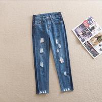 7XL Plus Size 2018 New Fashion Brand Cotton Cross Pants Elegant Hit Color Denim Jeans Female