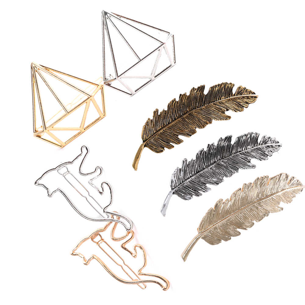 1PC złoty/srebrny liść/kot/diamentowe pióra do włosów klip szpilka Barrette wsuwka do włosów akcesoria stylizacja piękne nakrycia głowy