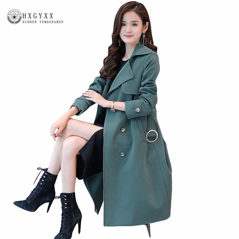 Slim Office Trench Coat Female Overcoat Women Double-Breasted Windbreaker Solid Plus Size Long Coats Autumn 2018 Casaco OKB917