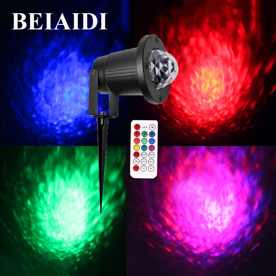 BEIAIDI IP65 RGB LED Water Wave Ripple Effect Stage Light Outdoor Remote laser projector Lighting for Xmas Party Dj Dances Show lumiparty hot remote rgb led water wave ripple effect stage lighting laser projector ocean wave night light projector for party