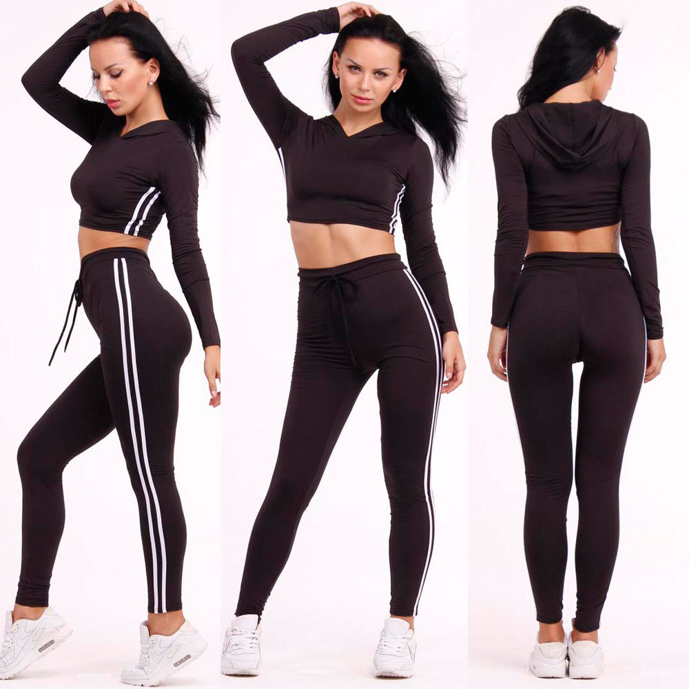 d865fa06989e3 2016 Sportswear Women's Sport Tracksuits Bars Jogger Sets Crop Top  Sweatshirt+Pants 2pcs Running Track Suits-in Running Sets from Sports &  Entertainment on ...