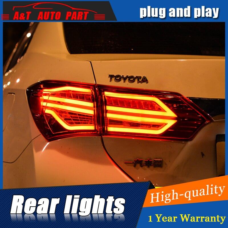 Стайлинга автомобилей из светодиодов задний фонарь для Тойота Королла задний фонарь Ассамблея 2014-2016 для Corolla задний свет DRL сигнала с HID комплект 2шт.