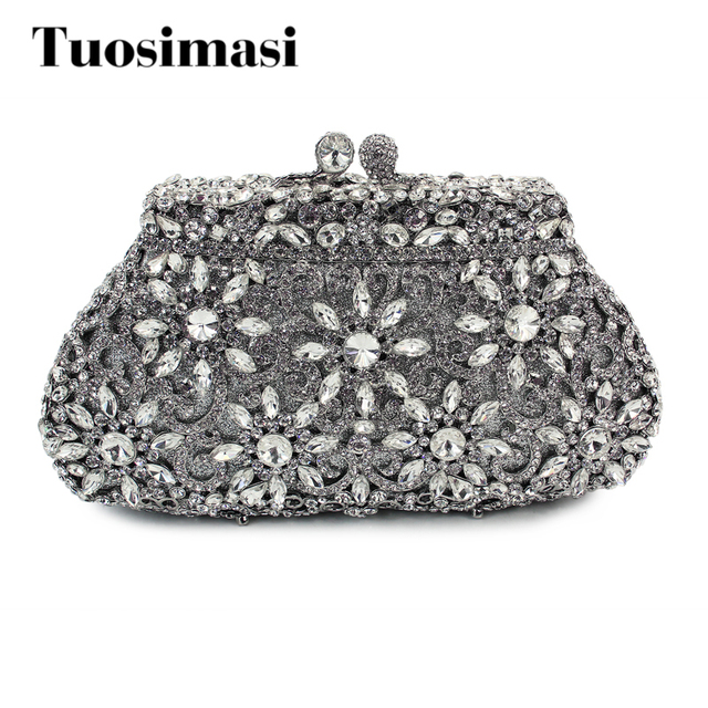 Silver Flower Shape Crystal Party Stone Evening Clutch Bags Handmade Handbags Las Purse 8626a