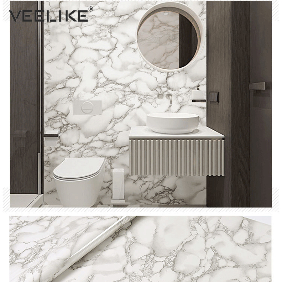 Bathroom Self Adhesive Wallpaper Marble Contact Paper For Kitchen Countertops Cabinets Liners Pvc Vinyl Wall Papers Home Decor