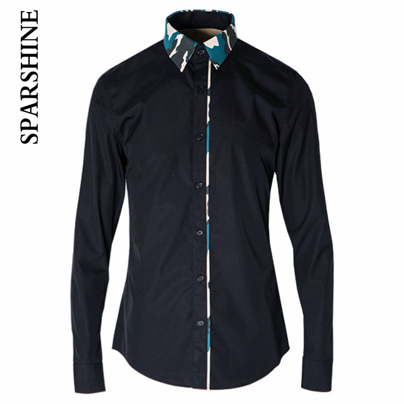 2016 brand clothing Men shirt cotton Camouflage Collra Casual dress Shirt Long Sleeve Slim Fit mens shirts camisa social shirt