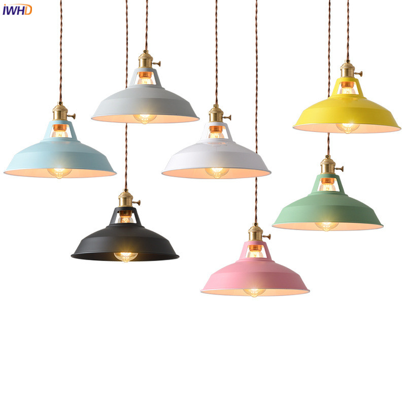 IWHD Colorful Modern LED Pendant Light Fixture Kitchen Dinning Living Room Nordic Lamp Hanging Lights Hanglamp Lustre Pendente