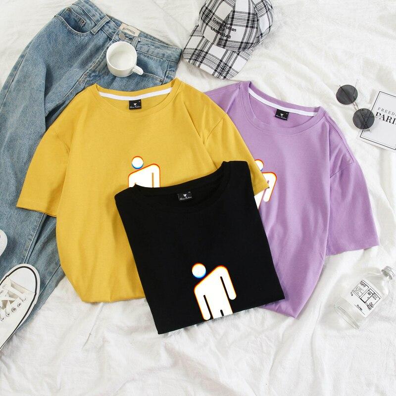 Billie eilish engraçado t camisa unisex das mulheres dos homens verão algodão topos plus size cores pastel streetwear hombre harajuku styl