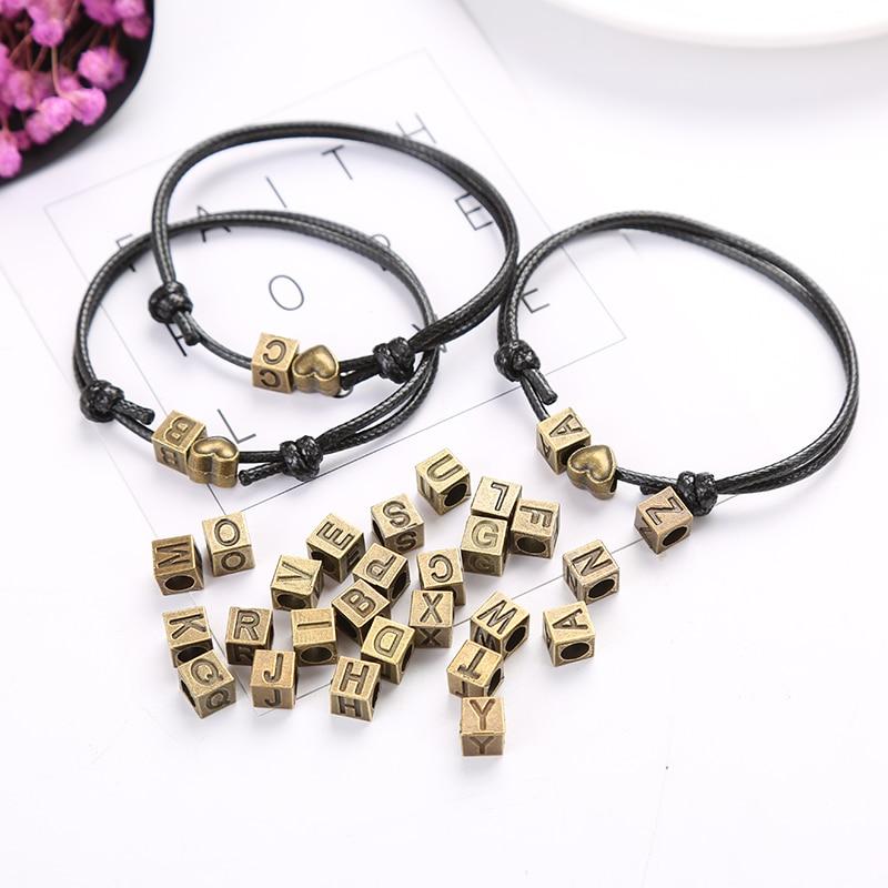 A-z Letters Bracelets For Women And Men Personality Name Bracelet Jewelry Retro Bronze Hearts Match 26 Letters Bracelets Gifts