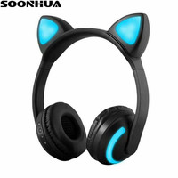 SOONHUA Cat Ear Bluetooth Headphones V4 2 Gaming Headset Stereo Earphone LED Flashing Glowing For PC