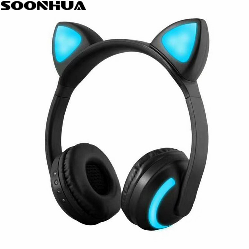 SOONHUA Cat Ear Bluetooth headphones V4.2 Gaming Headset Stereo Earphone LED Flashing Glowing For PC Mobile Phone Gift for Kid foldable cat ear headphones gaming headset earphone with glowing led light for phone computer best halloween gift for girls kids