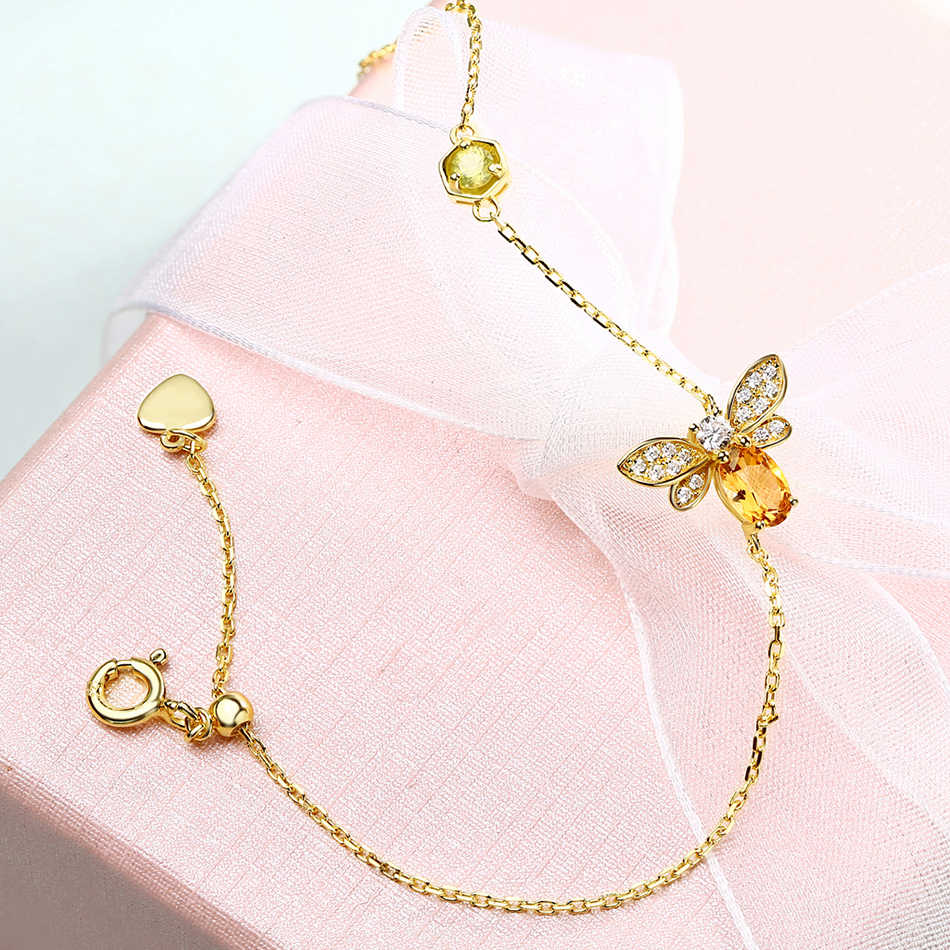 ALLNOE Bee 5X7mm 100% Natural Oval Citrine 925 Sterling Silver Jewelry Gold-color Chain Charm Bracelet Zircon Diamond Bracelets