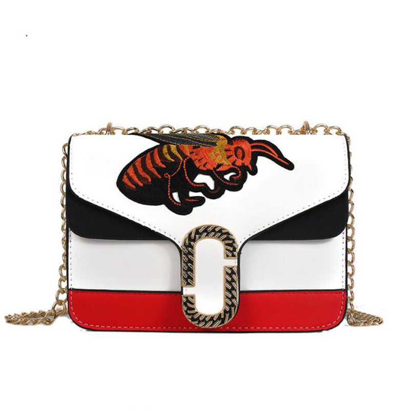 Women Gold Chain Shoulder Bags Embroidery Bee Bag Crossbody Bags Famous  Design Female Flap Handbags Luxury e5c150a610a44