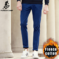 Pioneer camp novas de inverno casuais calças dos homens casuais de qualidade quente calças de lã masculina homens marca de espessura calças Khaki preto azul 625002