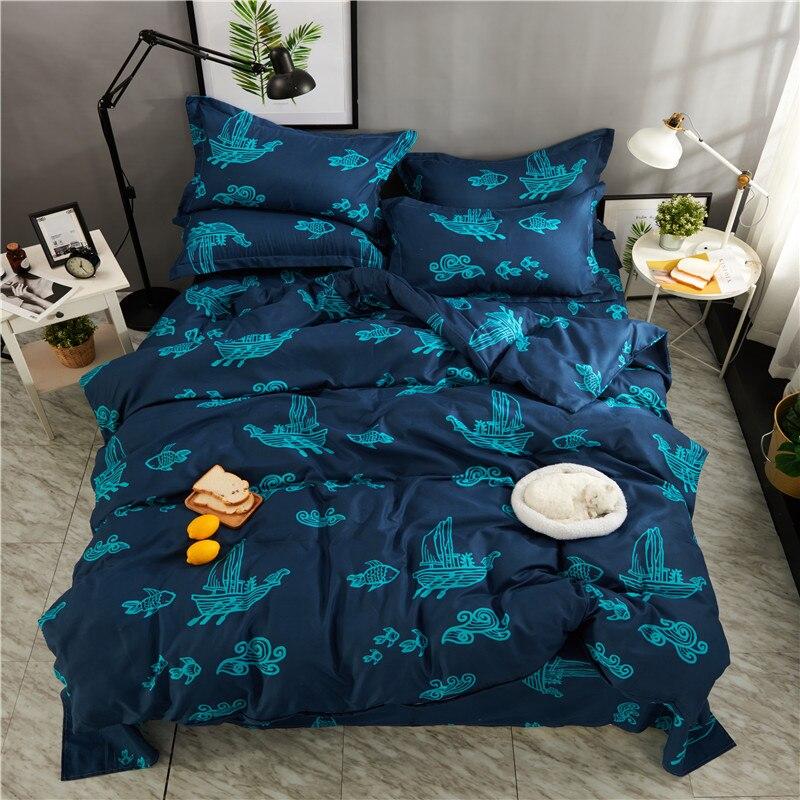 Ensemble de literie doux en Fiber de Polyester imprimé bleu moderne pour adultes 4 pièces housse de couette QueenSize ensemble de draps taies d'oreiller