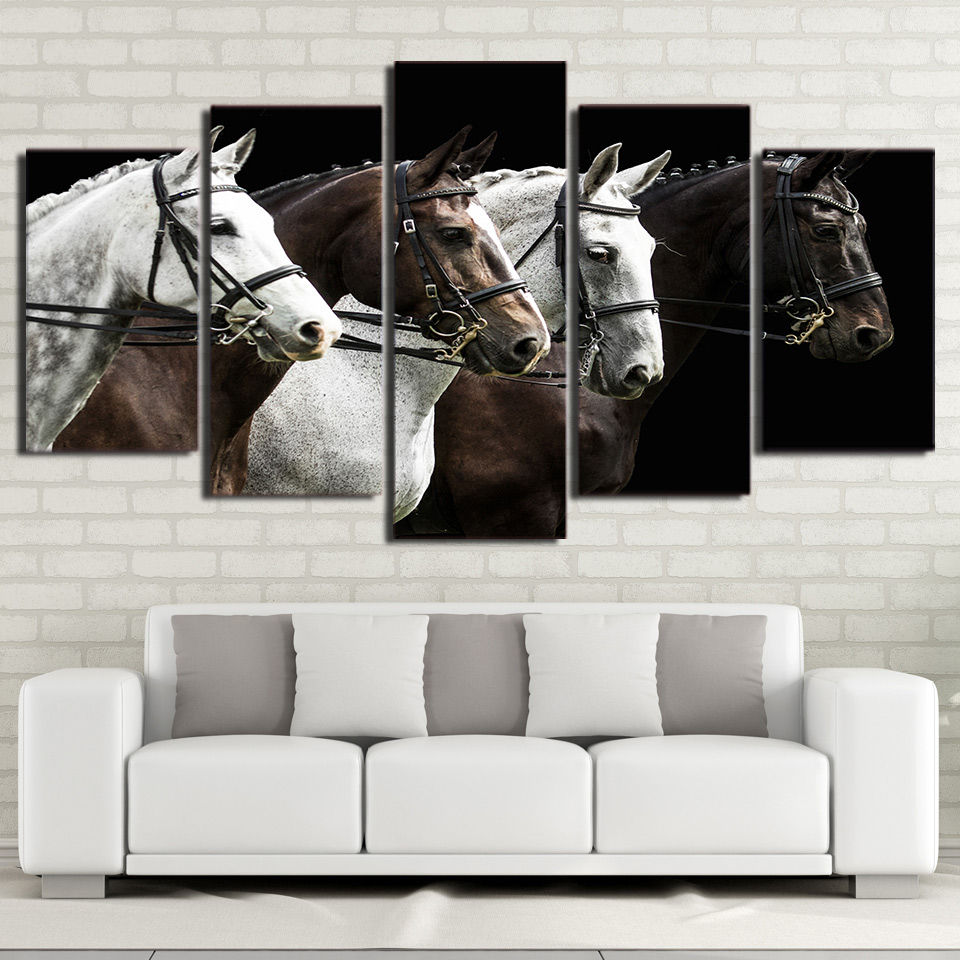HD Printed Canvas Poster Framework Living Room Picture 5 Panels Black And Brown Horse Race Modular Wall Art Home Decor Painting