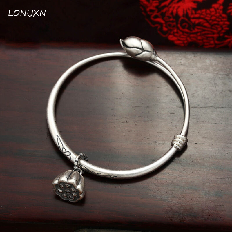 Silver Bracelet Bracelet Silver Bracelet S retro lotus lotus lotus bell bracelet