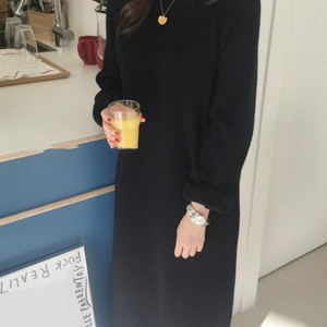 Image 3 - 여성 가을 겨울 긴 니트 스웨터 드레스 여성 풀오버 긴 소매 스트레이트 대형 라운드 칼라
