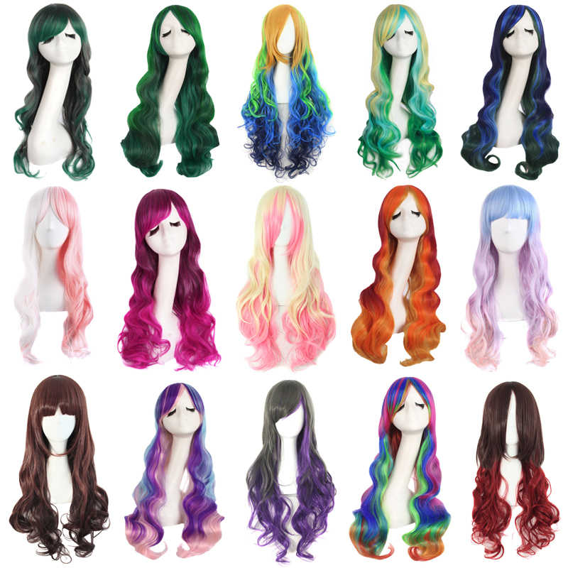 MapofBeauty Long Wave Ombre Pink Blue White Wigs for Women Rainbow Color Synthetic Hair Cosplay Wig Heat Resistant Fake Hair