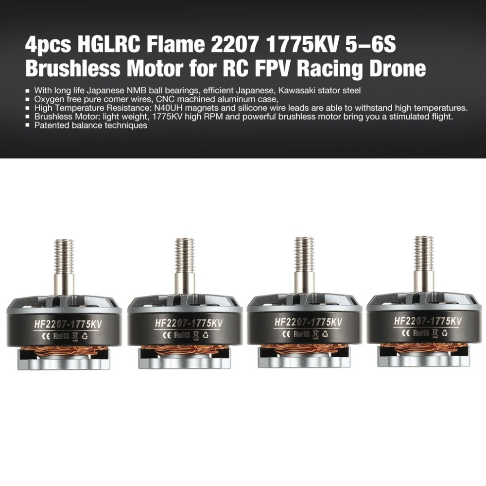 4pcs HGLRC Flame 2207 1775KV 5-6S Brushless Motor for RC FPV Racing Drone Airplane Helicopter Multicopter Propeller4pcs HGLRC Flame 2207 1775KV 5-6S Brushless Motor for RC FPV Racing Drone Airplane Helicopter Multicopter Propeller