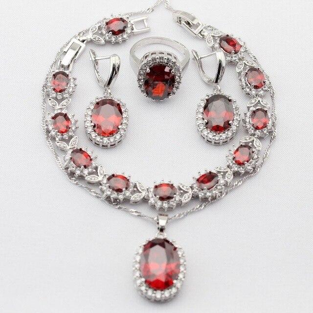 Шарм Серебряный Цвет Хэллоуин Ювелирные Наборы Создано Красный Гранат AAA Циркон Для Женщин Ожерелье Серьги Кольца Браслет