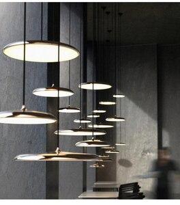Image 2 - Современный художественный дизайнерский светодиодный подвесной светильник НЛО, Подвесная лампа с круглой пластиной для столовой, гостиной, спальни, стола, кабинета, подвесной светильник