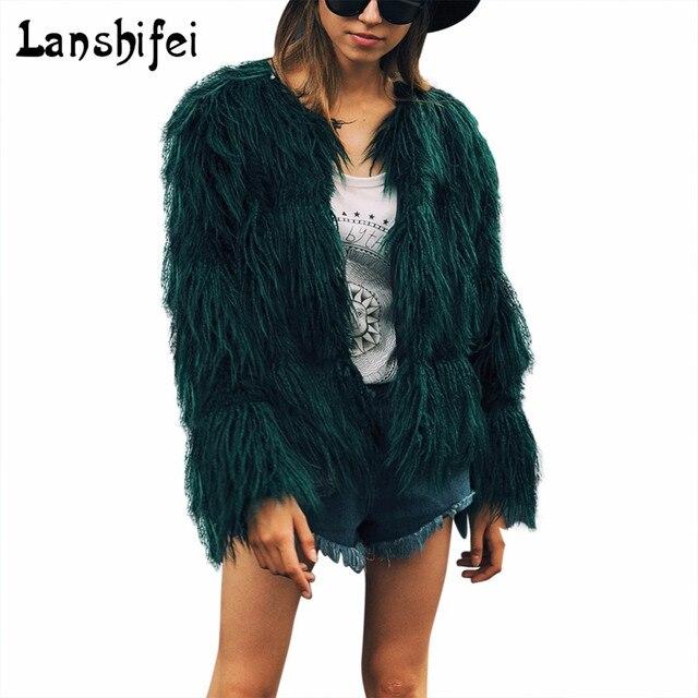 Women Winter Black Fur Coat Fluffy Thick Warm Long Sleeve Faux Fur  Outerwear Lady Short Style