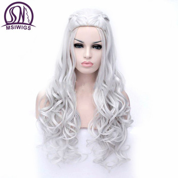 MSIWIGS 2 Colors Long Silver White Curly Wigs Cosplay Synthetic Blonde Braided Wig for Women Natural Braid Hair Heat Resistant