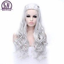 MSIWIGS 2 цвета длинные серебристые белые вьющиеся парики Косплей Синтетический блонд Плетеный парик для женщин натуральные плетеные волосы термостойкие